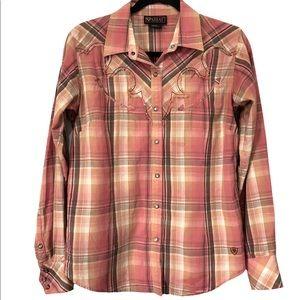 Ariat Snap Button Long Sleeve Plaid Shirt, M